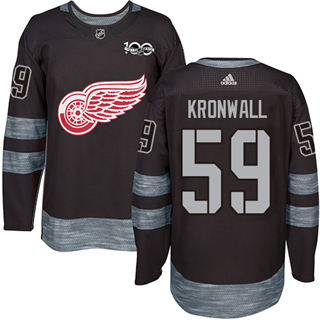 Men's Red Wings #59 Niklas Kronwall Black 1917-2017 100th Anniversary Stitched Hockey Jersey