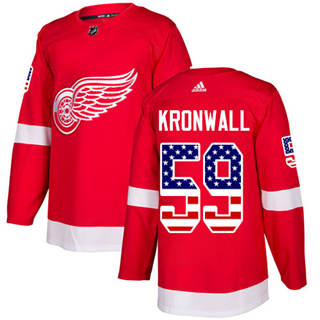 Men's Red Wings #59 Niklas Kronwall Red Home  USA Flag Stitched Hockey Hockey Jersey