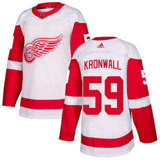Men's Red Wings #59 Niklas Kronwall White Road  Stitched Hockey Jersey