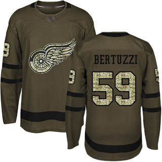 Men's Red Wings #59 Tyler Bertuzzi Green Salute to Service Stitched Hockey Jersey