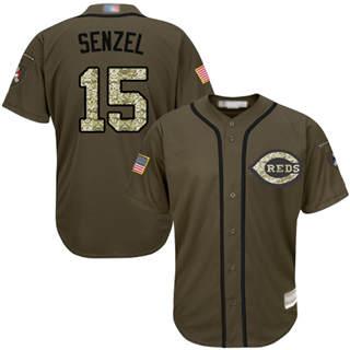 Men's Reds #15 Nick Senzel Green Salute to Service Stitched Baseball Jersey