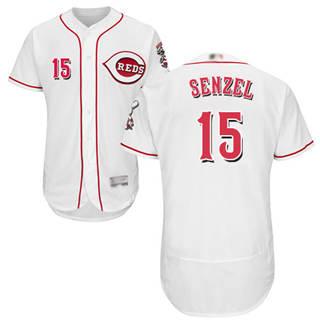 Men's Reds #15 Nick Senzel White Flexbase  Collection Stitched Baseball Jersey