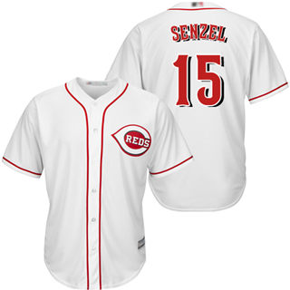 Men's Reds #15 Nick Senzel White New Cool Base Stitched Baseball Jersey
