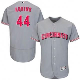 Men's Reds #44 Aristides Aquino Grey Flexbase  Collection Stitched Baseball Jersey