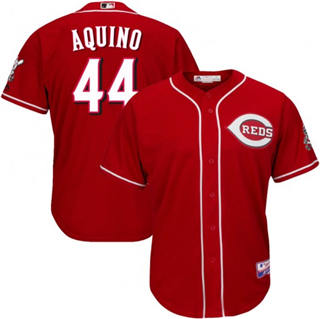 Men's Reds #44 Aristides Aquino Majestic Scarlet Alternate Official Cool Base Player Jersey