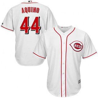 Men's Reds #44 Aristides Aquino Majestic White Home Official Cool Base Player Jersey