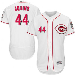 Men's Reds #44 Aristides Aquino White Flexbase  Collection Stitched Baseball Jersey