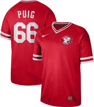 Men's Reds #66 Yasiel Puig Red  Cooperstown Collection Stitched Baseball Jersey