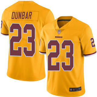 Men's Redskins #23 Quinton Dunbar Gold Stitched Football Limited Rush Jersey