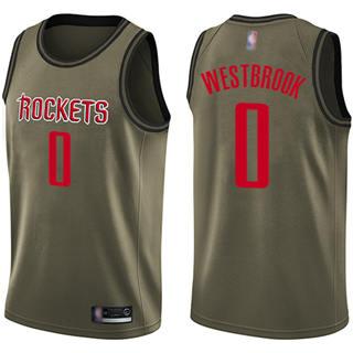 Men's Rockets #0 Russell Westbrook Green Salute to Service Basketball Swingman Jersey