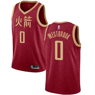 Men's Rockets #0 Russell Westbrook Red Basketball Swingman City Edition 2018-19 Jersey