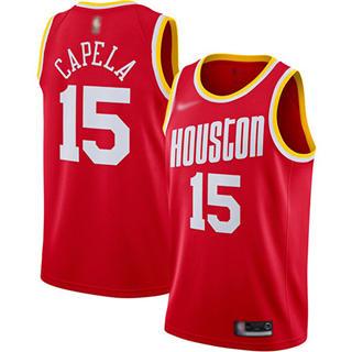 Men's Rockets #15 Clint Capela Red Basketball Swingman Hardwood Classics Jersey