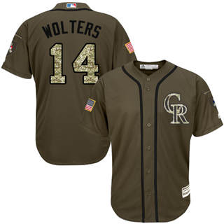 Men's Rockies #14 Tony Wolters Green Salute to Service Stitched Baseball Jersey