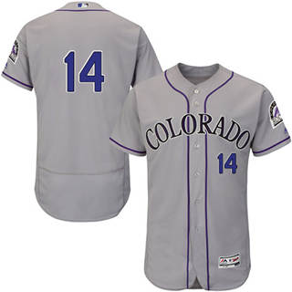 Men's Rockies #14 Tony Wolters Grey Flexbase  Collection Stitched Baseball Jersey