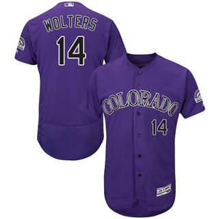 Men's Rockies #14 Tony Wolters Purple Flexbase  Collection Stitched Baseball Jersey