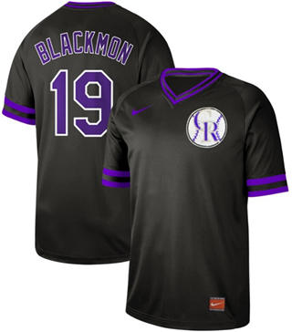 Men's Rockies #19 Charlie Blackmon Black  Cooperstown Collection Stitched Baseball Jersey