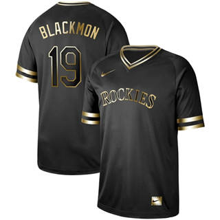Men's Rockies #19 Charlie Blackmon Black Gold  Stitched Baseball Jersey