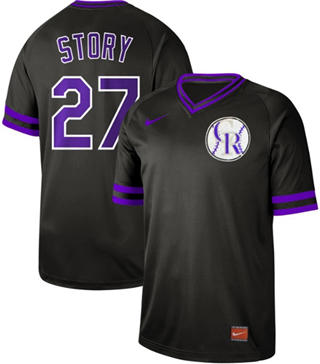 Men's Rockies #27 Trevor Story Black  Cooperstown Collection Stitched Baseball Jersey
