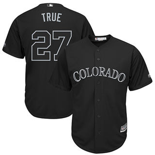 Men's Rockies #27 Trevor Story Black True Players Weekend Cool Base Stitched Baseball Jersey