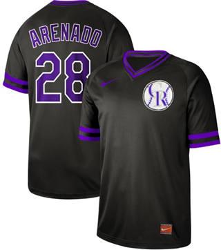 Men's Rockies #28 Nolan Arenado Black  Cooperstown Collection Stitched Baseball Jersey