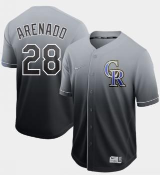 Men's Rockies #28 Nolan Arenado Black Fade  Stitched Baseball Jersey