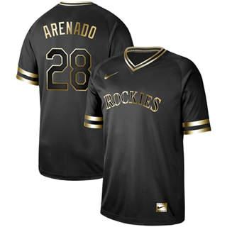 Men's Rockies #28 Nolan Arenado Black Gold  Stitched Baseball Jersey