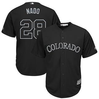 Men's Rockies #28 Nolan Arenado Black Nado Players Weekend Cool Base Stitched Baseball Jersey
