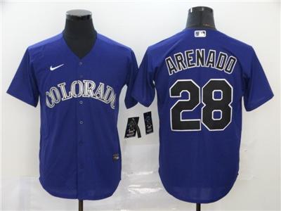 Men's Rockies #28 Nolan Arenado Purple 2020 Baseball Cool Base Jersey