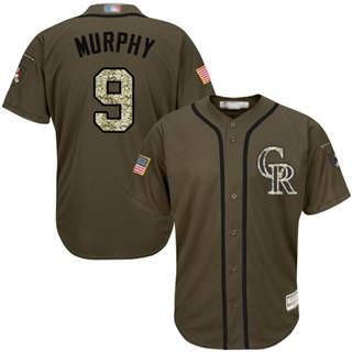 Men's Rockies #9 Daniel Murphy Green Salute to Service Stitched Baseball Jersey