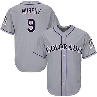 Men's Rockies #9 Daniel Murphy Grey New Cool Base Stitched Baseball Jersey