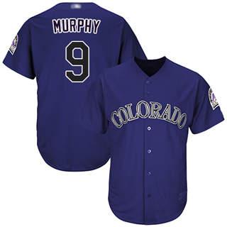 Men's Rockies #9 Daniel Murphy Purple New Cool Base Stitched Baseball Jersey