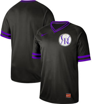Men's Rockies Blank Black  Cooperstown Collection Stitched Baseball Jersey