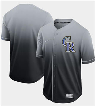Men's Rockies Blank Black Fade  Stitched Baseball Jersey