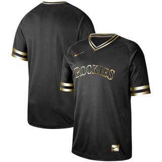 Men's Rockies Blank Black Gold  Stitched Baseball Jersey
