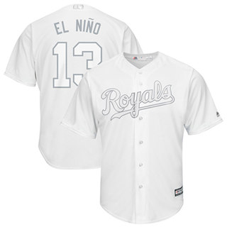 Men's Royals #13 Salvador Perez White El Nino Players Weekend Cool Base Stitched Baseball Jersey