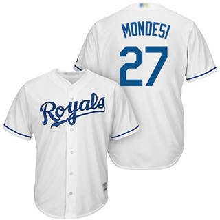Men's Royals #27 Raul Mondesi White Cool Base Stitched Baseball Jersey