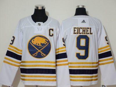 Men's Sabres #9 Jack Eichel White 50th Season Authentic Stitched Hockey Jersey