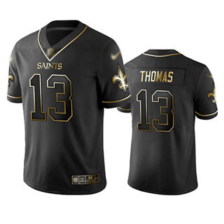 Men's Saints #13 Michael Thomas Black Stitched Football Limited Golden Edition Jersey