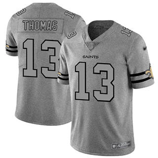 Men's Saints #13 Michael Thomas Gray Stitched Football Limited Team Logo Gridiron Jersey