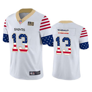 Men's Saints #13 Michael Thomas White Stitched Football Limited Independence Day Jersey