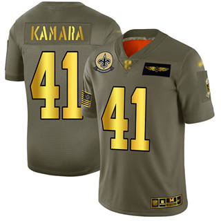 Men's Saints #41 Alvin Kamara Camo Gold Stitched Football Limited 2019 Salute To Service Jersey