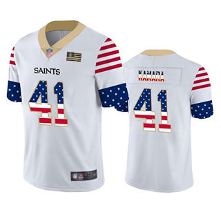 Men's Saints #41 Alvin Kamara White Stitched Football Limited Independence Day Jersey