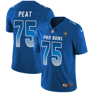 Men's Saints #75 Andrus Peat Royal Stitched Football Limited NFC 2019 Pro Bowl Jersey