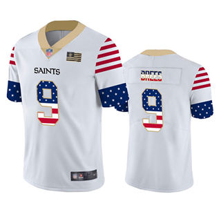 Men's Saints #9 Drew Brees White Stitched Football Limited Independence Day Jersey