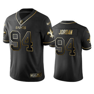 Men's Saints #94 Cameron Jordan Black Stitched Football Limited Golden Edition Jersey
