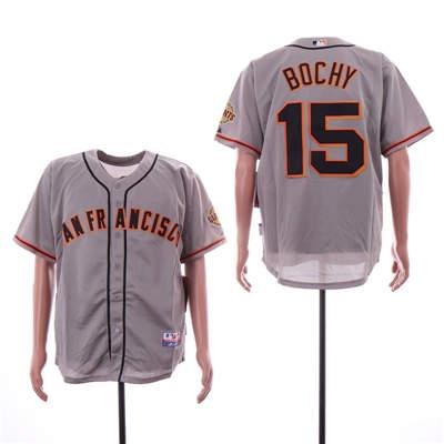 Men's San Francisco Giants 15 Bruce Bochy Gray Cool Base Jersey