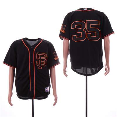 Men's San Francisco Giants 35 Brandon Carwford Black Alternate Cool Base Jersey