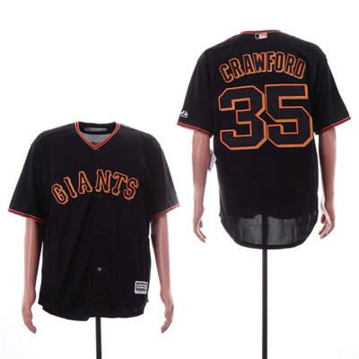 Men's San Francisco Giants 35 Brandon Carwford Black Cool Base Jersey
