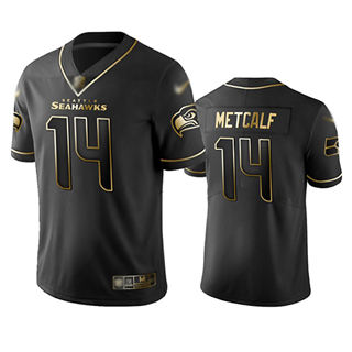 Men's Seahawks #14 D.K. Metcalf Black Stitched Football Limited Golden Edition Jersey