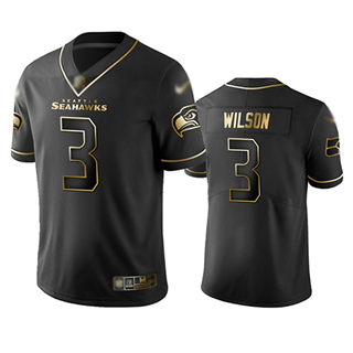 Men's Seahawks #3 Russell Wilson Black Stitched Football Limited Golden Edition Jersey